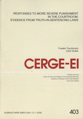 Responses to more severe punishment in the courtroom: evidence from truth-sentencing laws /Fusako Tsuchimoto, Libor Du�ek (odkaz v elektronick�m katalogu)